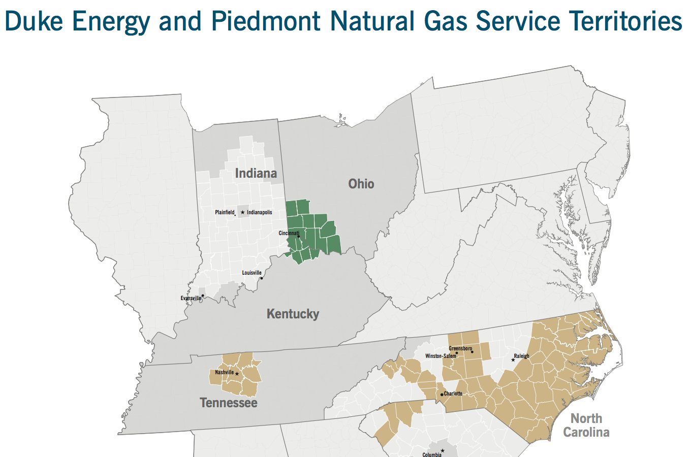 Duke Energy Service Area Map on