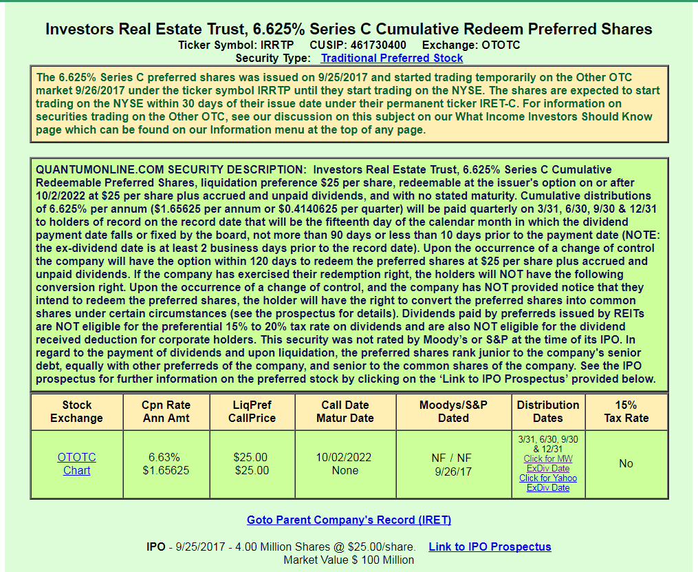 Let s look at it from an investment prospective if a company had - Therefore Let S Take A Look At Irrtp Aka Iret C