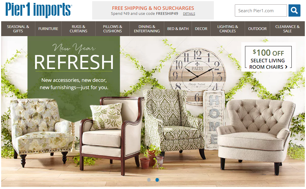 Pier 1 Imports most direct competitors are