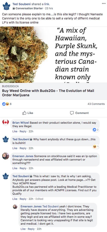 Namaste Technologies Bud2Go.ca Illegal