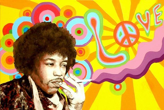 jimi hendrix peace love graffiti