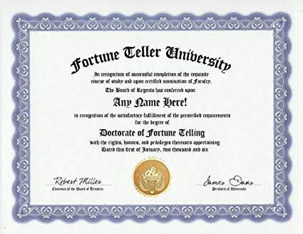Image result for fortune teller certificate