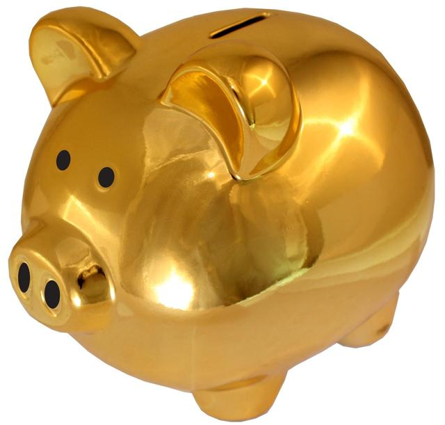 Golden piggy bank cash investment dividends income