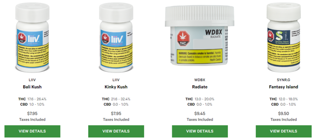 Ontario Cannabis products are listed by strain, and the same is true in other provinces as well