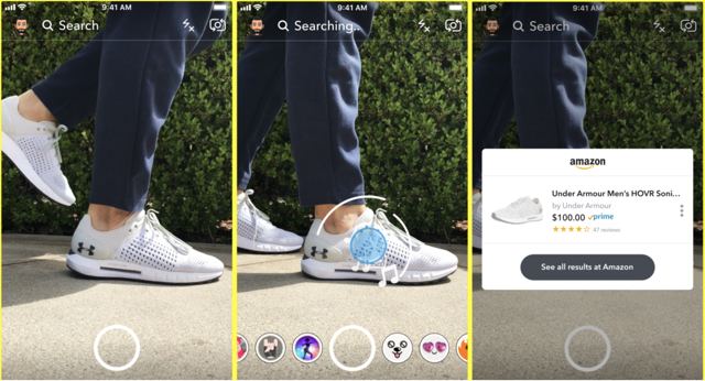 Snapchat Amazon Visual Search Product