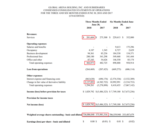 GAHC Income statement