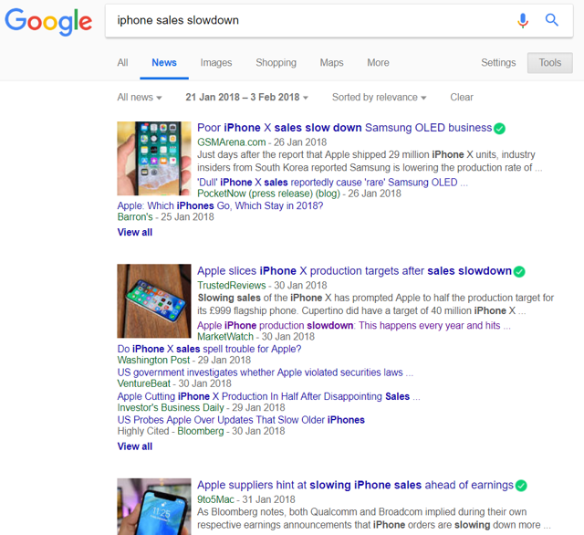 Snapshot of Google search results for news using