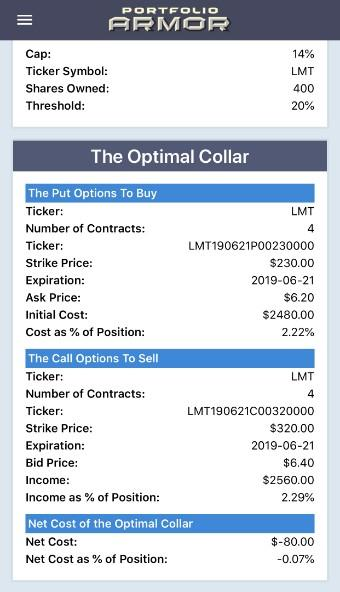 Optimal collar hedge for LMT via Portfolio Armor.