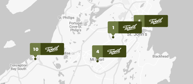 Canopy Growth has five stores in Newfoundland, with four of them near St Johns