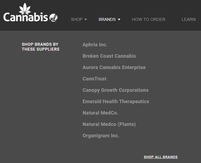 Newfoundland sells seven brands of cannabis including Aurora Cannabis and Aphria