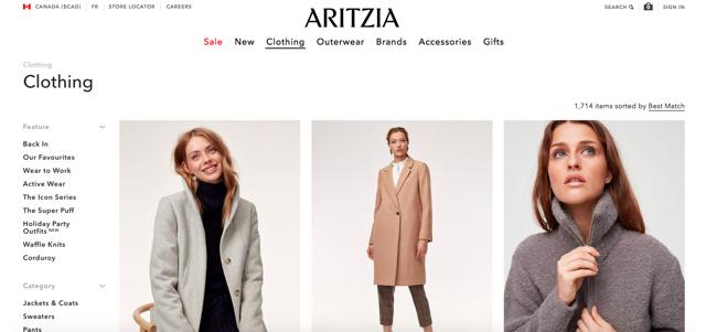 Aritzia website