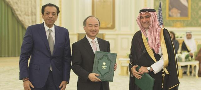 SB Investment Advisers CEO Rajeev Misra, SoftBank Group Chairman and CEO Masayoshi Son and His Excellency Yasir al-Rumayyan