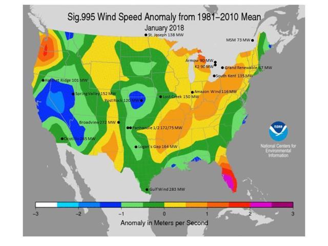 January 2018 Wind Speed Anomaly