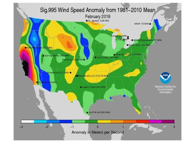 February Wind Speed Anomaly