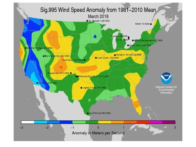 March Wind Speed Anomaly