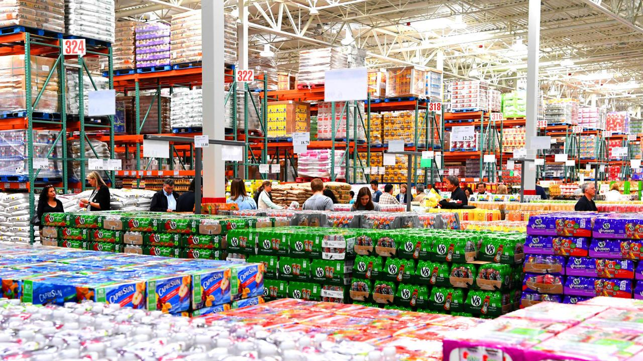 Inside a Costco Wholesale store, where members can buy attractive merchandising in bulk