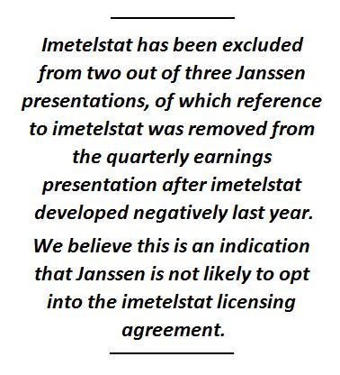 We Believe Janssen Has Separated From Geron Just Awaiting Divorce