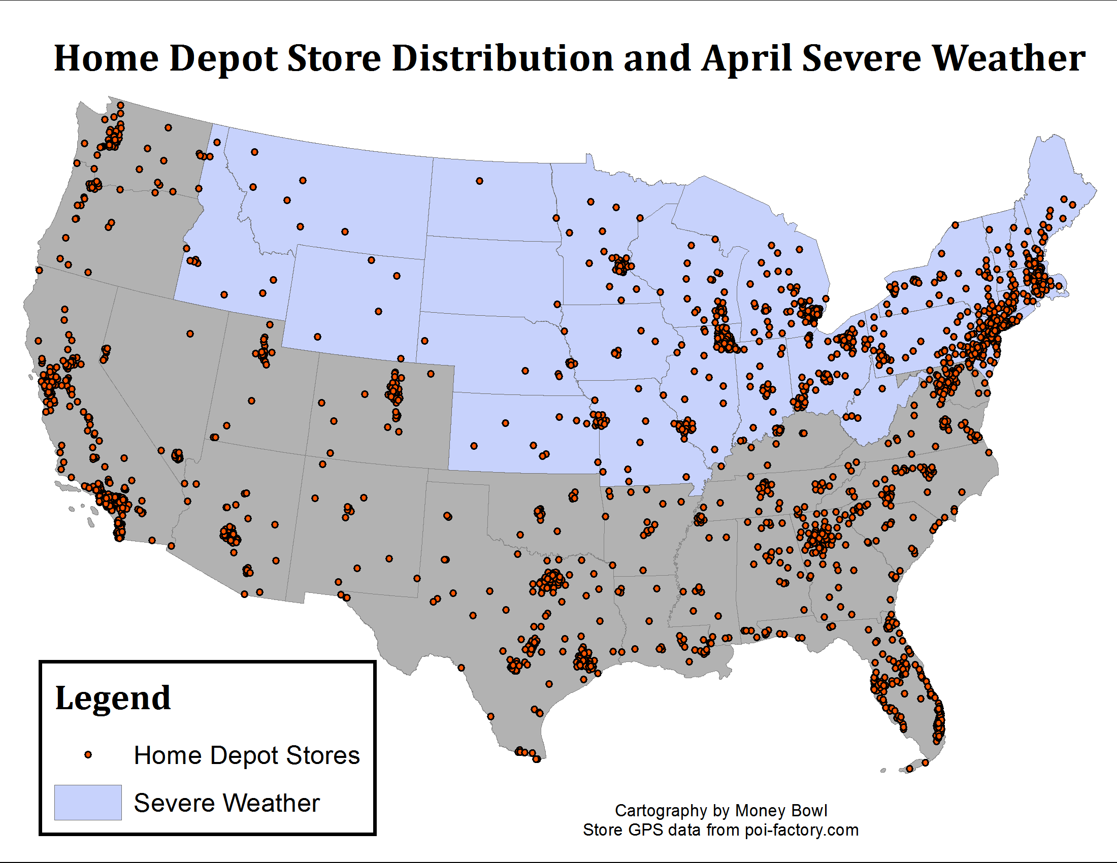 Lowes Stores On A Us Map - 0425