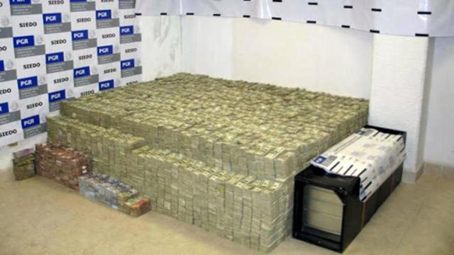 $208mm seized in 2007 by Mexican officials from the home of Zhenli Ye-Gon a Chinese-Mexican national with ties to the Sinaloa drug cartel.