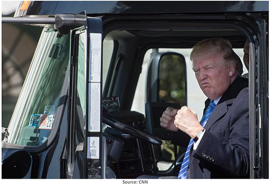President Trump in Truck Image