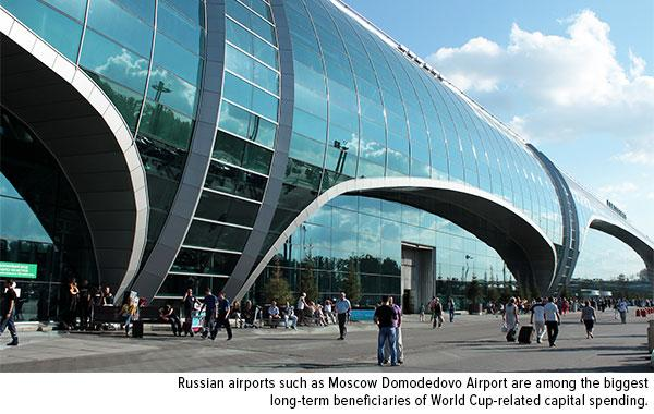 Russian airports such as Moscow Domodedovo Airport are among the biggest long-term beneficiaries of World Cup-related capital spending.