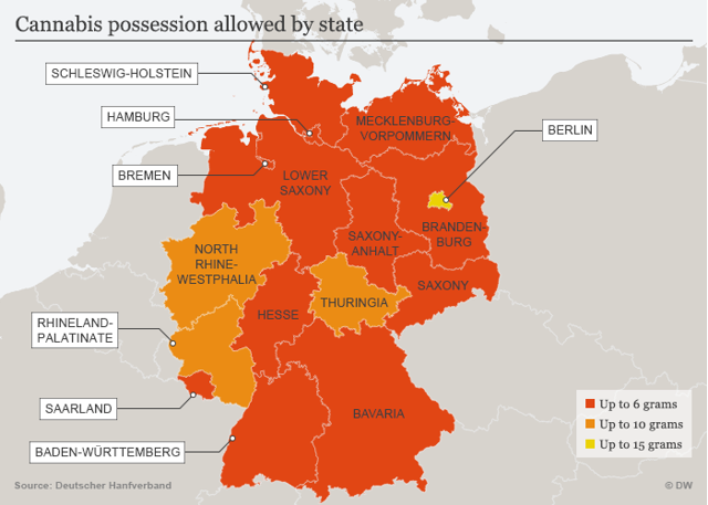 Cannabis possession allowed by German state