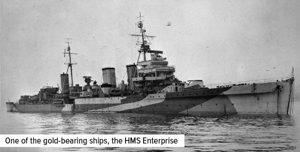 one of the gold-bearing ships, the HMS enterprise
