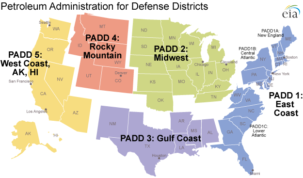 Image result for EIA map of PADDs
