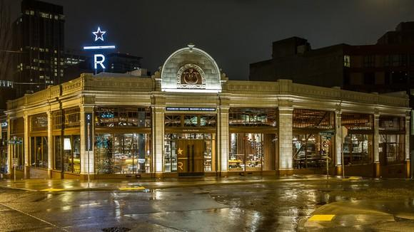 The exterior of the Starbucks Reserve Roastery and Tasting Room in Seattle