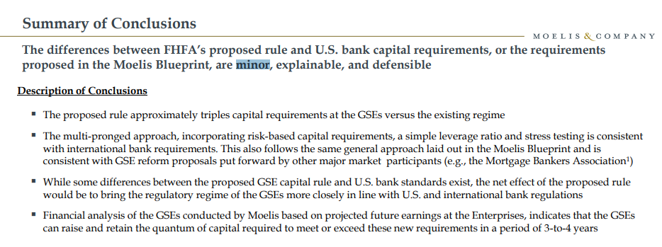 Differences between fhfas rule and moelis gse blueprint are minor moelis commentary highlights malvernweather