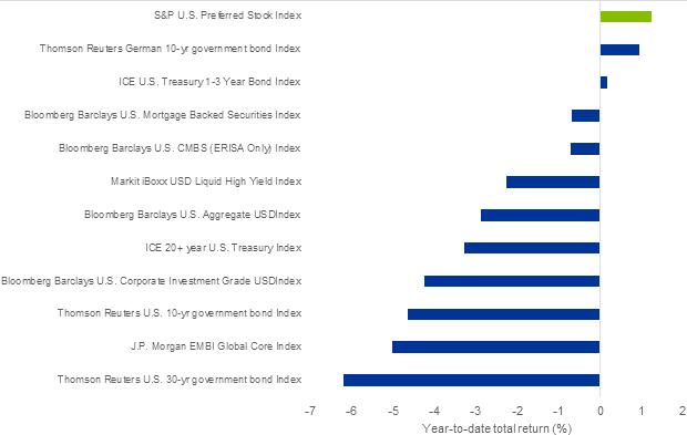 Chart 6: YTD performance of long duration asset classes