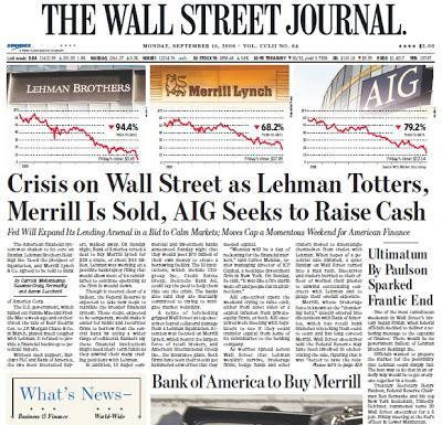 Lehman Totters, Merrill is Sold, AIG Seeks to Raise Cash