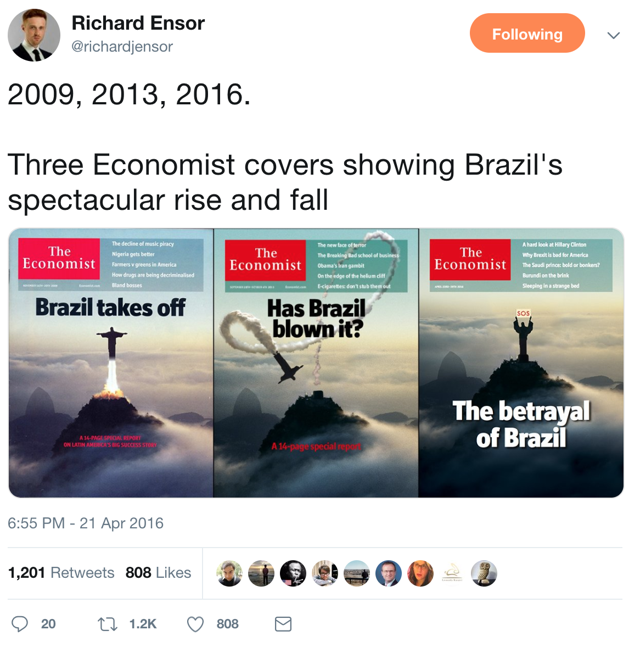 Brazil takes off, Has Brazil blown it, and the betrayal of Brazil, economist covers from 2009, 2013, and 2016