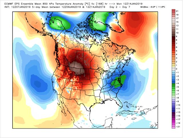 Figure 4: 12z EPS Week 1 (Jan.9-14) averaged 850 mb temperature anomalies