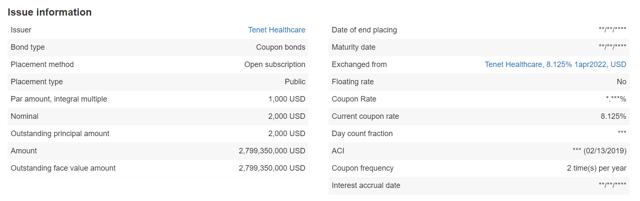 Tenet Healthcare Bond 8.125% April 2022