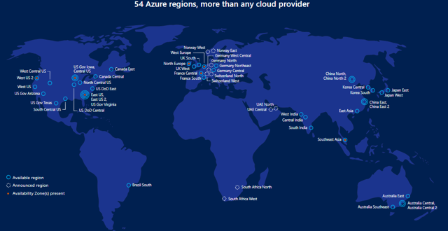 global reach of msft azure