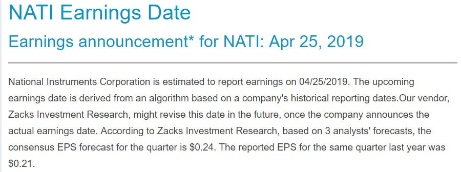 National Instruments Pre-Earnings Trade