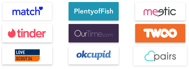 Logos of Match group, PlentyofFish, meetic, Tinder, OurTime, TWOO, Lovescout 24, Okcupid, and pairs