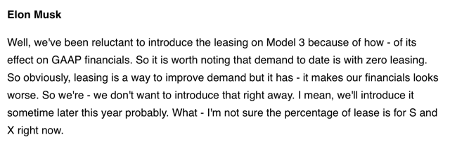 Musk on M3 leases