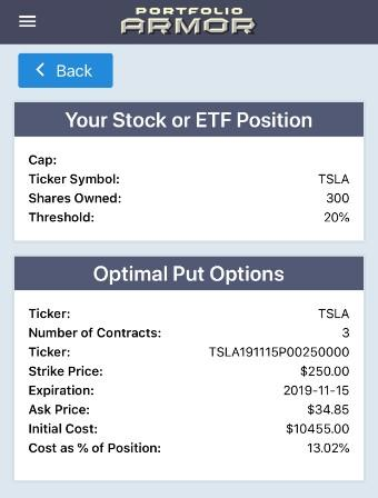Optimal Put Hedge on Tesla via Portfolio Armor.