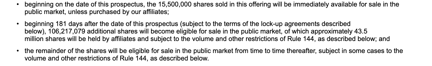 Lock up period after ipo pre-ipo