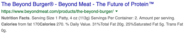 Beyond Meat Nutrition Facts