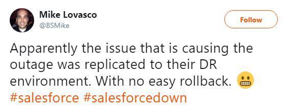 Salesforce outage tweet