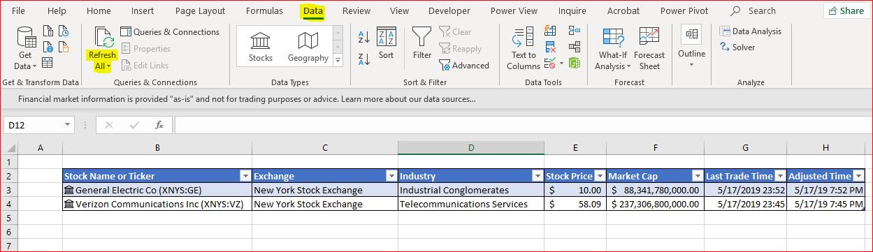 Using Excel Stock Data Types To Create A Live Portfolio
