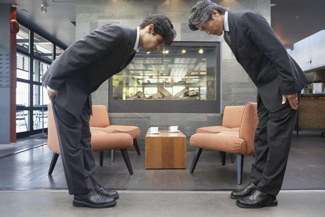 japanese men bowing