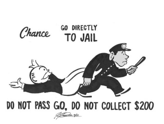 Image result for go straight to jail don't pass go
