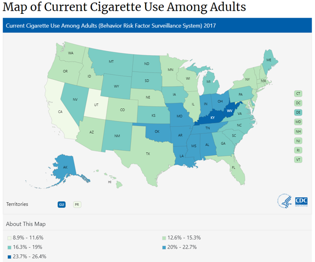 Map of current cigarette use USA