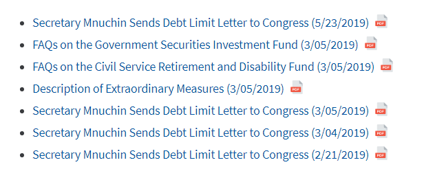 USA debt limit letters to Congress