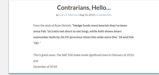 Stock Market Sentiment: It Won't Get Much Worse