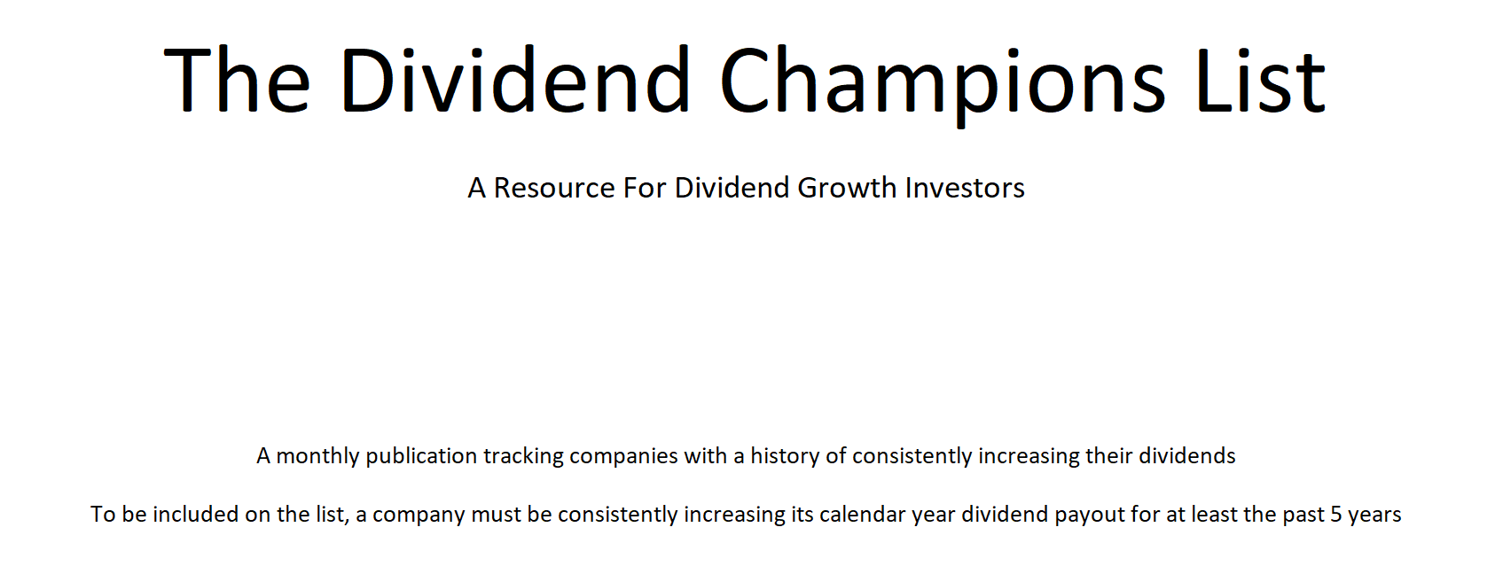 Getting Started In Dividend Growth Investing: Paring The Universe Of Stocks